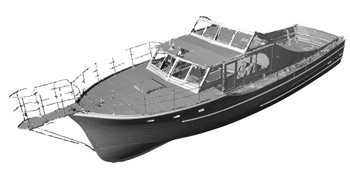 Kingfisher 3-D Scan: Every half inch of the exterior of the Kingfisher was scanned by Global Inspection Services of Portland to document the shape of the boat. From the scan data, design drawings or a 3-D drawing or model can be produced.