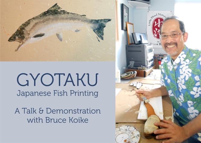 Gyotaku artist, Bruce Koike, at work in his studio.